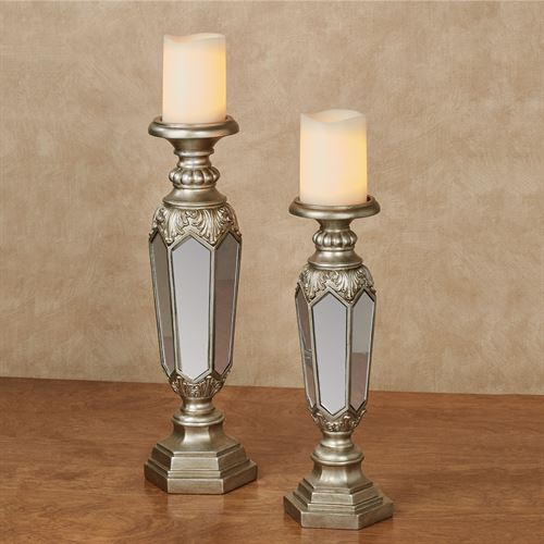 Adeana Mirrored Candleholders Platinum Set of Two