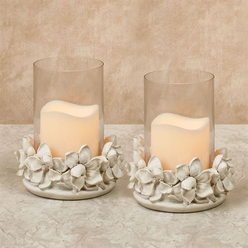 Magnolia Hurricane Candleholders Antique White Pair