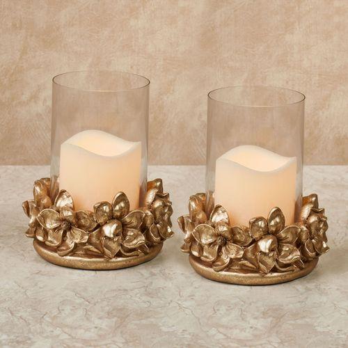 Magnolia Hurricane Candleholders Gold Pair