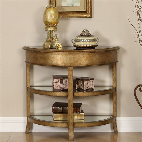 Aleah Console Table Aged Gold