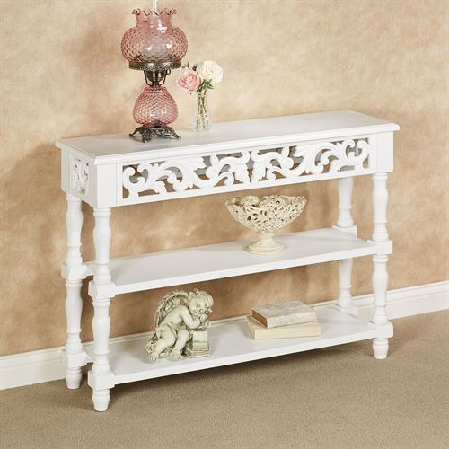 Alisanne Scrolling Console Table Antique White
