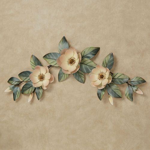 Magnolia Floral Swag Metal Wall Topper Cream