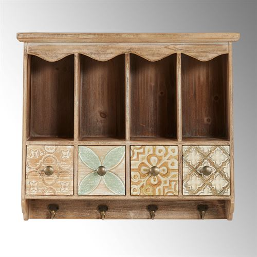 Jalilah Wall Cubby Storage Accent Brown