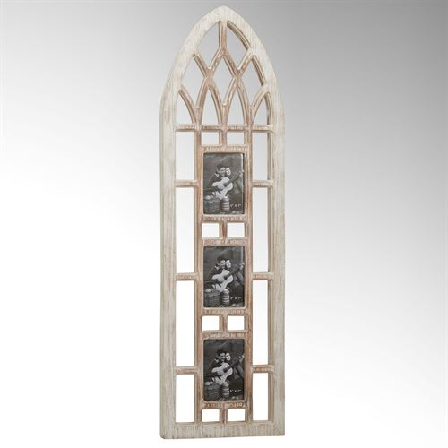 Arched Cathedral Window Wall Photo Frame Whitewash