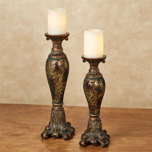 Kyara Mosaic Candleholders Bronze Set of Two