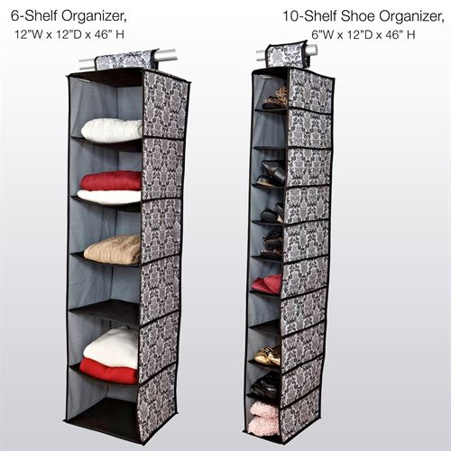 Lydia Hanging Shelf Organizers Black Set of Two