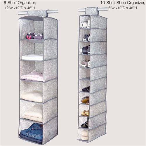 Zoey hanging shelf organizers gray set of two