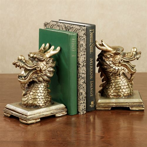 Golden Dragon Bookend Pair Autumn Gold Pair
