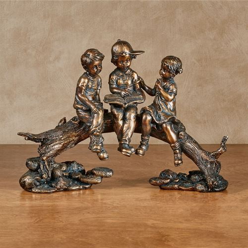 Summer Stories Children Figurine Golden Bronze