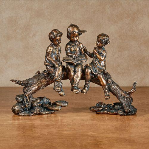 Summer Stories Children Figurine Golden Bronze