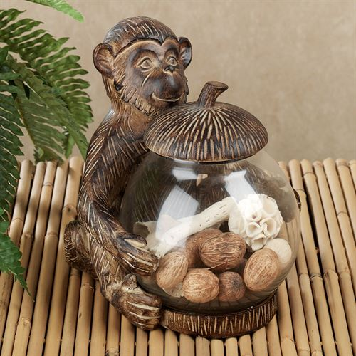 Tropical Monkey Covered Jar Aged Brown