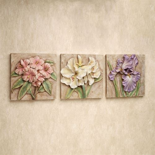 Spring Mementos Wall Plaque Set Multi Pastel Set of Three