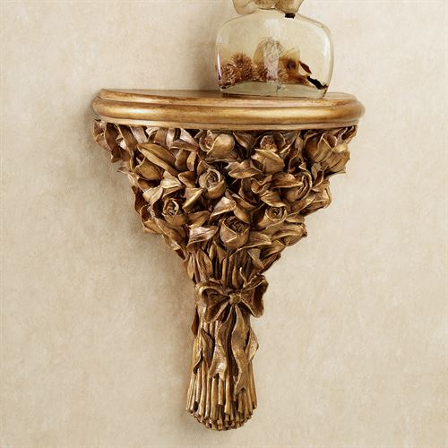 Rose Bouquet Wall Shelf Gold