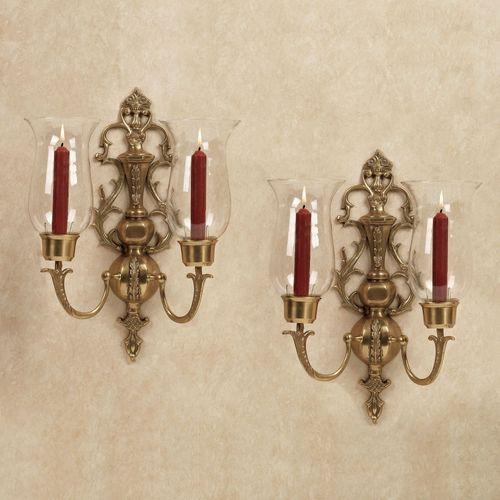 Acacia Wall Sconce Pair Antique Brass Pair