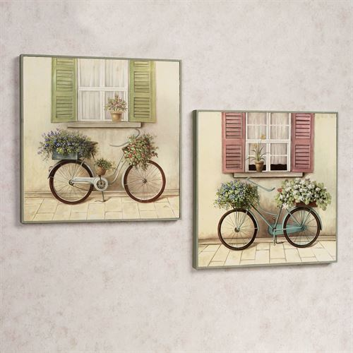Floral Bicycle Wall Plaque Set Multi Pastel Set of Two