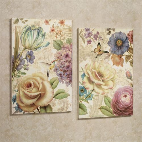 Array of Flowers Plaque Set Multi Pastel Set of Two