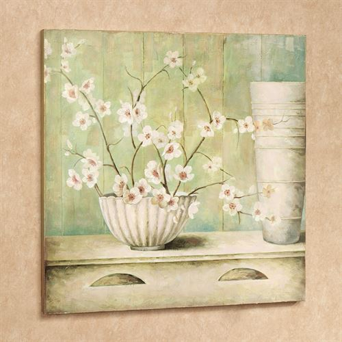 Cherry Blossoms Wall Plaque Pale Green