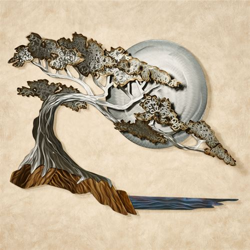 Moonlight Cypress Metal Wall Sculpture Multi Metallic