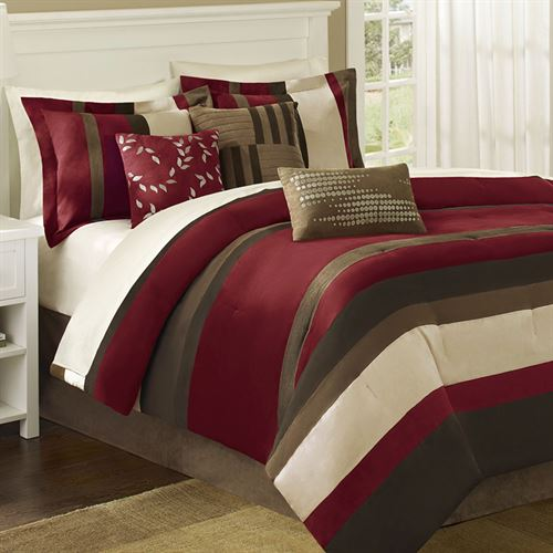 Boulder Stripe Comforter Bed Set Burgundy