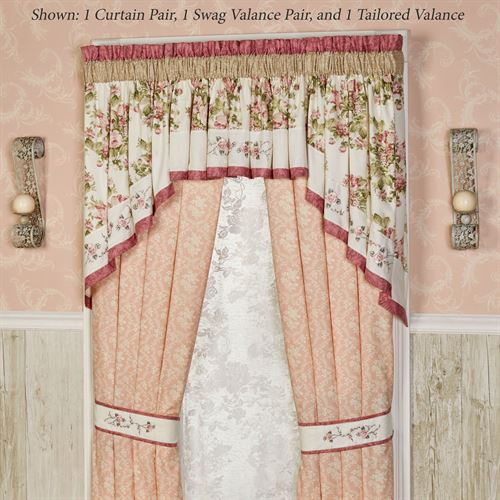 Daydream Tailored Curtain Pair Rose 84 x 84
