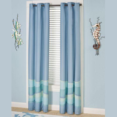 Ocean Tides Grommet Curtain Pair Cerulean Blue 84 x 84
