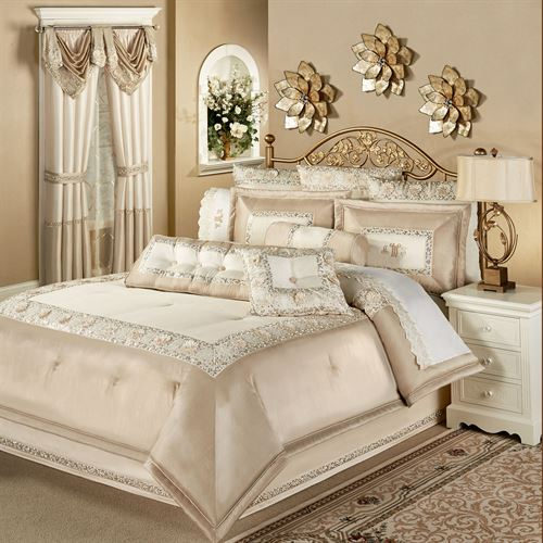 Elegante Sequined Comforter Set Light Cream