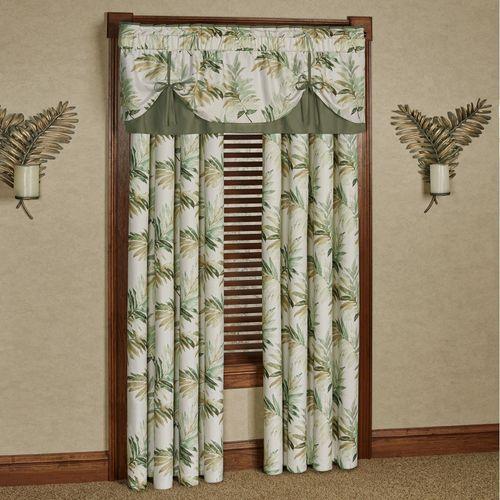 Paradise Leaf Tie Up Valance Parchment 60 x 18