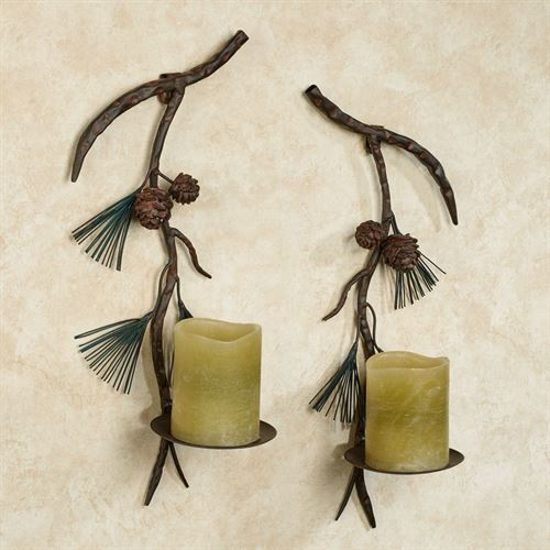 Pine Array Wall Sconces Brown Set of Two