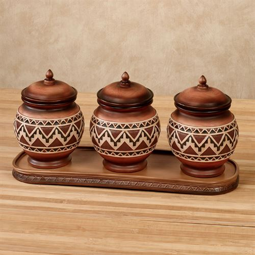 Abequa Covered Jars with Tray Multi Earth Set of Four