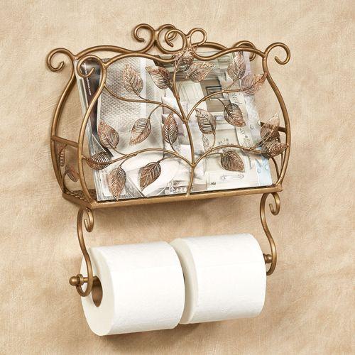 Eden Toilet Paper Holder with Magazine Rack Champagne Bronze