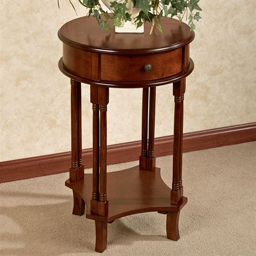 Shawna Round Wooden Accent Table, Round Accent Tables
