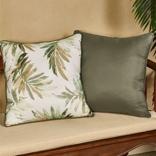 Paradise Leaf Reversible Decorative Pillow Parchment 18 Square
