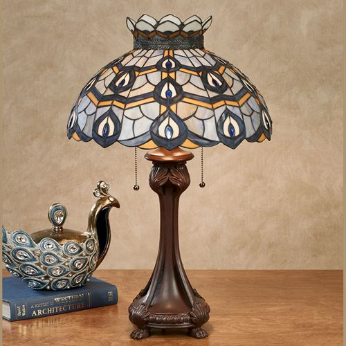 Pleasant Peacock Table Lamp Blue Each with CFL Bulbs
