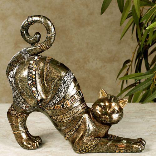 Fabulous Feline Cat Sculpture Multi Metallic