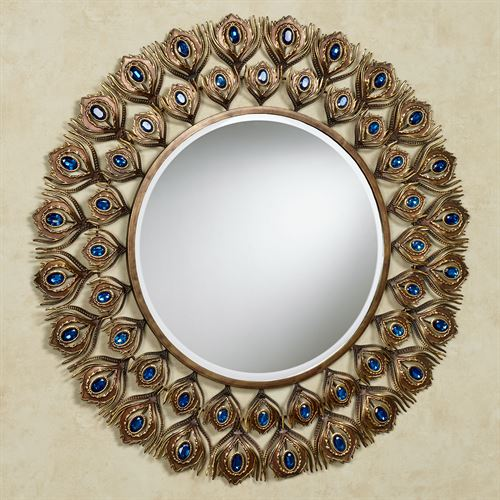 Royal Peacock Round Wall Mirror Multi Jewel