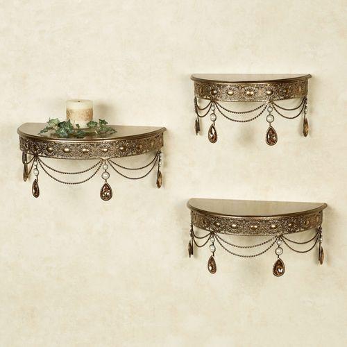 Brigette Wall Shelves Champagne Bronze Set of Three