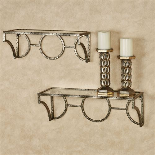 Acton Wall Shelves Aged Gold Set of Two