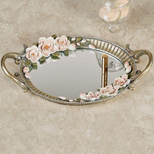Magnolia Elegance Mirrored Vanity Tray Champagne Gold