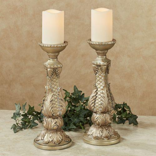 Calissa Candleholders Satin Gold Pair