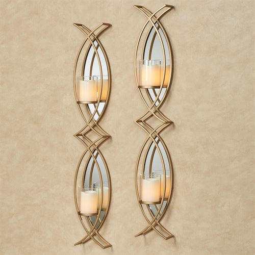 Travelle Wall Candleholder Pair Gold