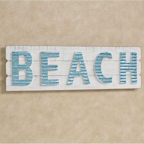 Beach Word Wall Art Plaque Whitewash