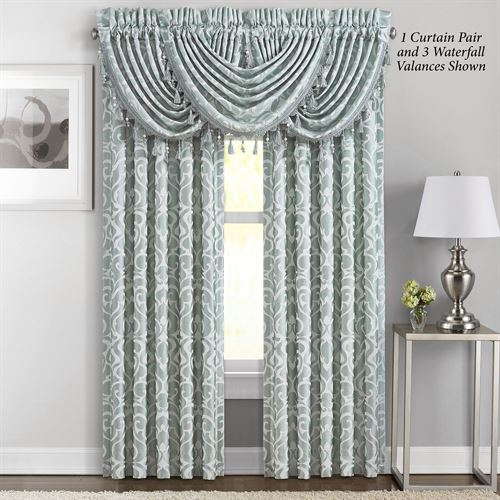 Lombardi Wide Tailored Curtain Pair Aqua Mist 100 x 84