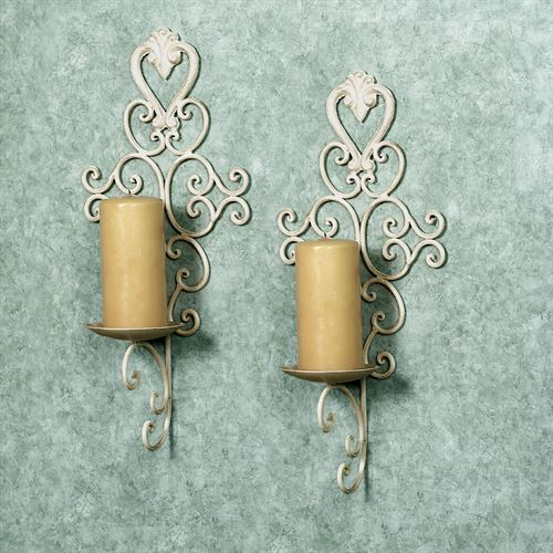 Aldabella Creamy Gold Wall Candleholder Pair
