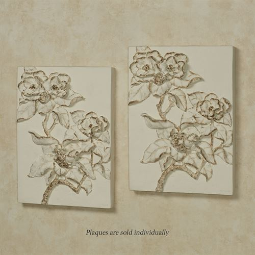Magnolia Blossoms Wall Plaque Art Ivory/Gold