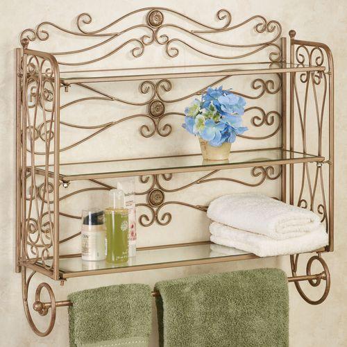 Kadalynn Wall Shelf with Towel Bar Satin Gold