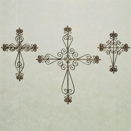 Valles Metal Wall Cross Set Antique Gold Set of Three