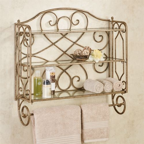 Abbianna Wall Shelf with Towel Bar Antique Gold