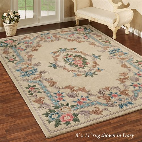 Large Aubusson Rug: Serena Aubusson II Floral Wool Large Room Size Area Rugs