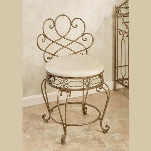 Abbianna Vanity Chair Antique Gold