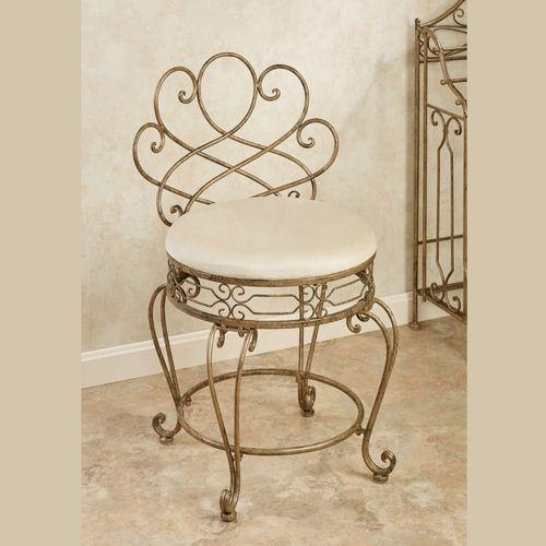 Abbianna Vanity Chair Antique Gold